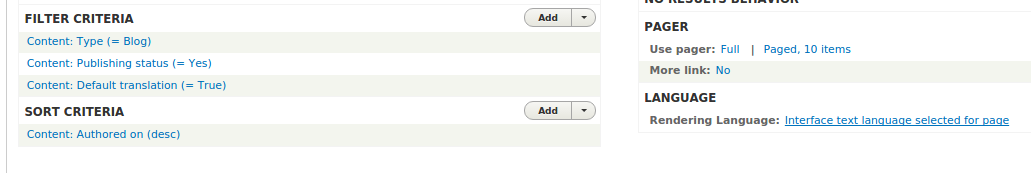 Views settings for multilingual blog view